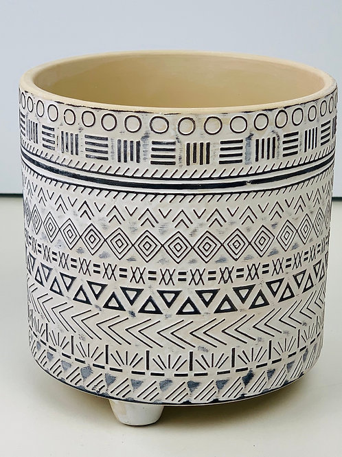 White Embossed Aztec Footed Planter