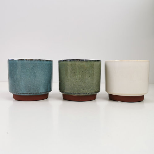 Coastal Blue, Green & Cream Glazed Stoneware Planter