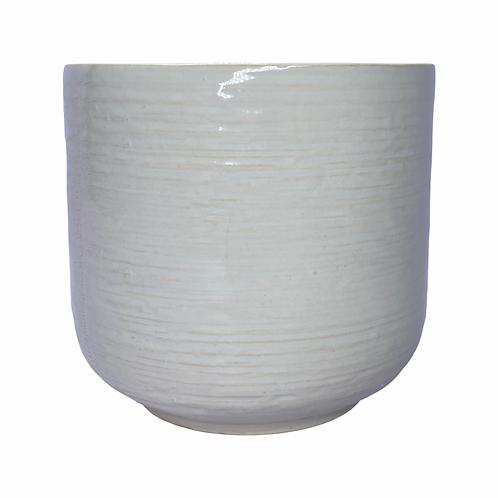 Wheat White Beige Gloss Textured Ceramic Plant Pot