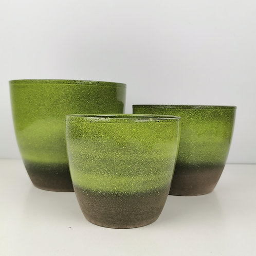 Semi Glazed Flora Green Ceramic Planter