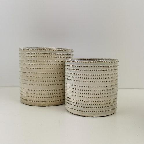 "Beige ""Bead Banding"" Ceramic Planter"