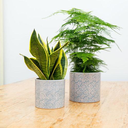 """Planter no 117 (""""Printed Denim"""" Ceramic)"""