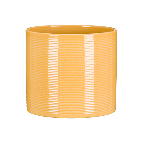 Yellow Ribbed Ceramic Planter