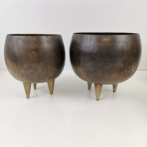 """Antique Brass"" Planter with Feet"