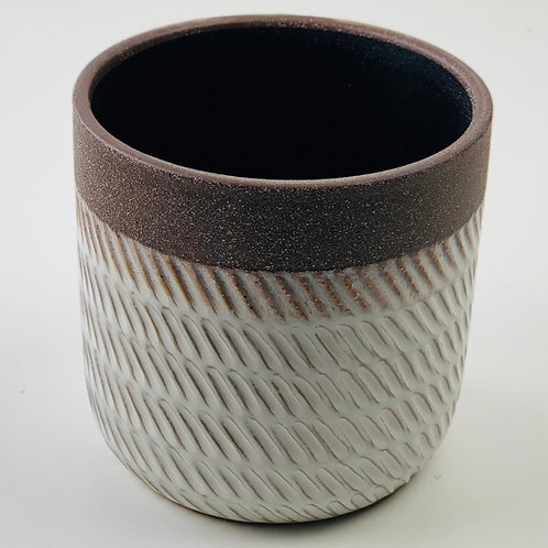 Embossed White Planter with Brown Rim Planter