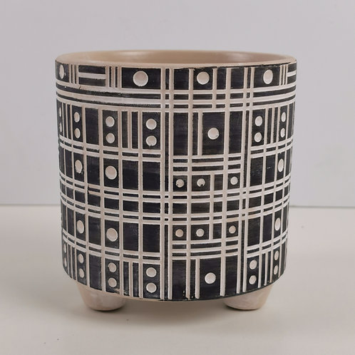 Black & White Deco Footed Planter