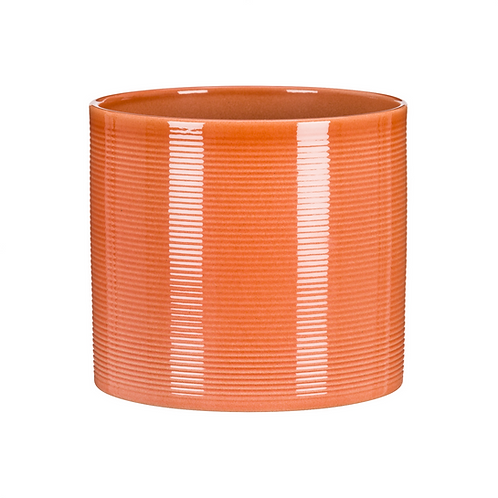 Papaya Ribbed Ceramic Planter
