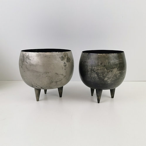 """""""Antique Silver"""" Planter with Feet"""