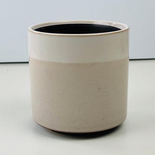 White & Latte Brown Glass Glazed Planter