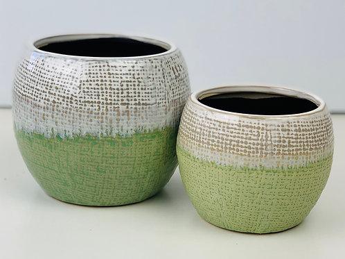 White & Green Handmade Speckled Planter
