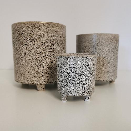 Speckled Ceramic Indoor Beige Planter