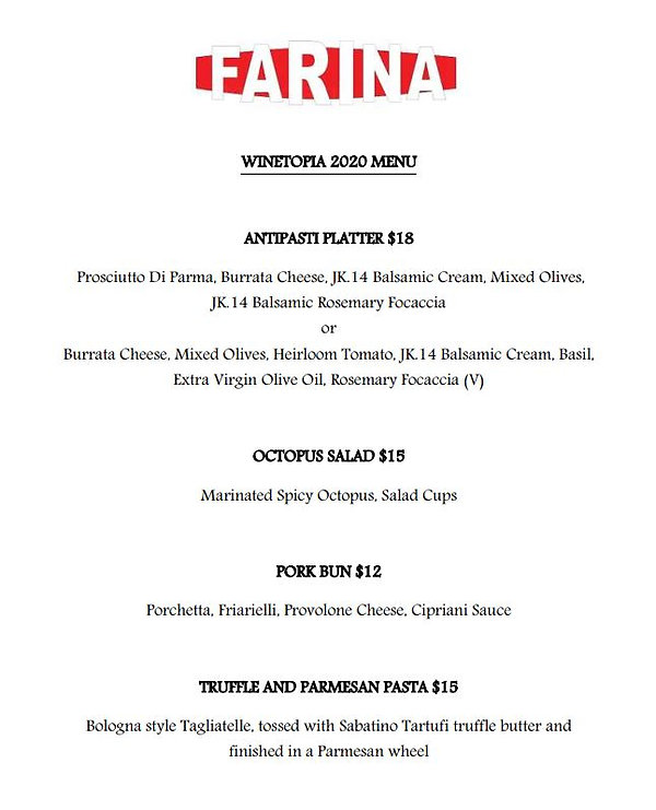 Farina X Winetopia menu (website) 27OCT.