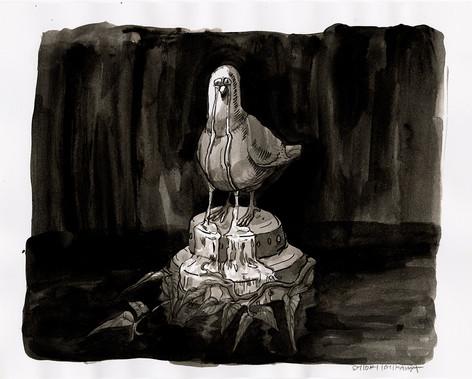 泣く鳩の銅像 / Crying pigeon statue
