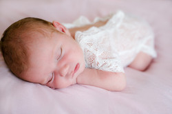 Sleeping baby in cute outfit