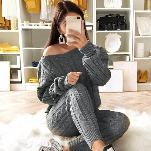 Knitted two piece set autumn fashion