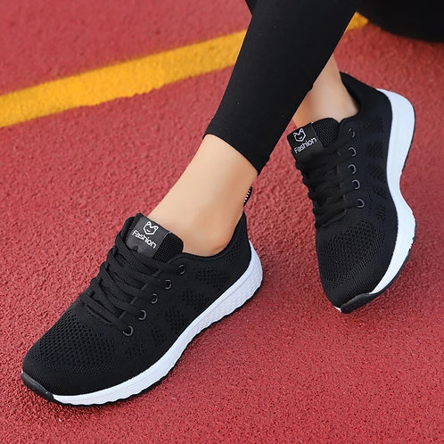 Women Casual Shoes Fashion Breathable Walking Mesh Lace Up Flat Shoes Sneakers W