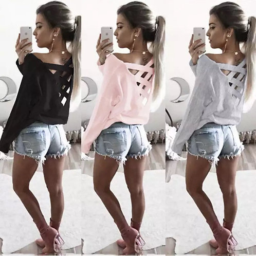 Fashion Tops Women V Neck T Shirt Loose Long Sleeve T-Shirt Cotton Casual Clothe