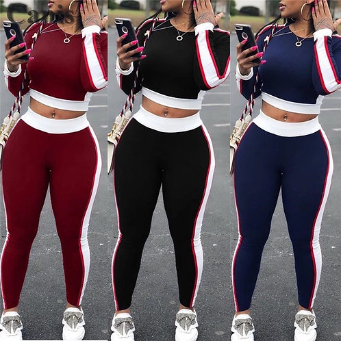 Sexy Women Sports Set Yoga Sleeve Crop Top Pants Outfit Yoga Workout Gym Fitness