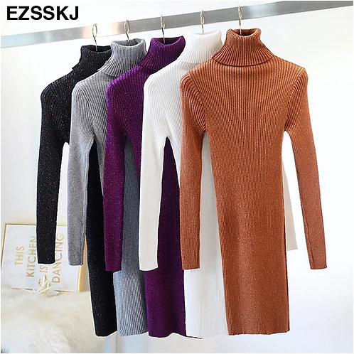 High elaautumn winter sweater dress women warm female Turtleneck