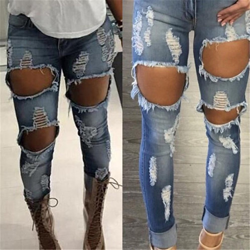 Fashion Women Denim Skinny Ripped Pants stretchy pants