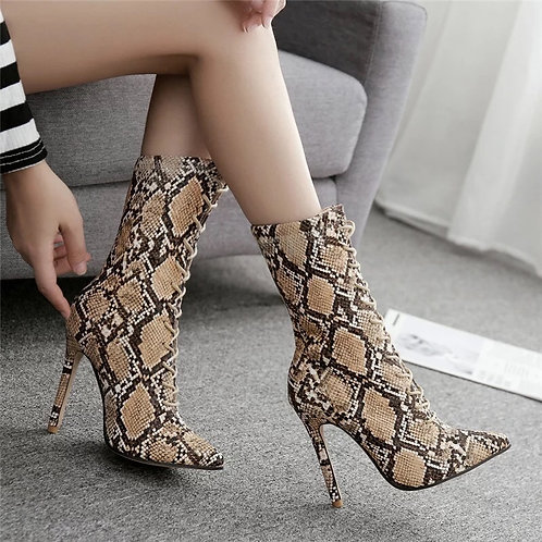 2019 Fashion Women 11.5cm High Heels Fetish Leather Stripper Boots Serpentine La