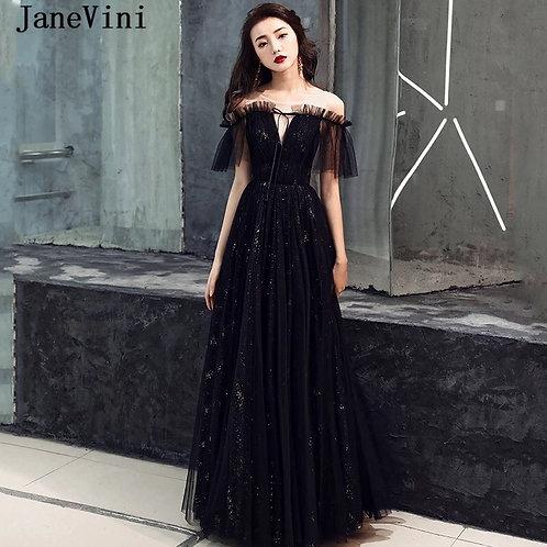JaneVini Elegant Black Prom Dresses 2019 Scoop Neck Short Sleeve Glitter Sequine