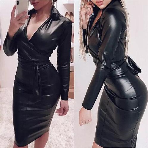 Women Dress Long Sleeve 2019 Autumn Spring Sexy Bodycon Mini Dress Slim V Neck L