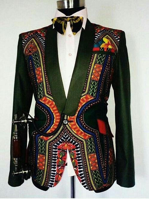Mens Casual Blazers Slim Fit Casual African Print coat