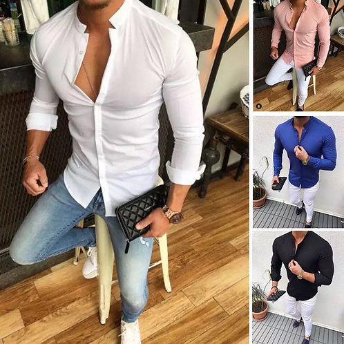 Men's Slim V Neck Long Sleeve