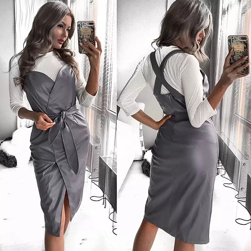 Women Sashes Pu Leather Club Sexy Dress Back Cross Spaghetti Strap Fashion Lady