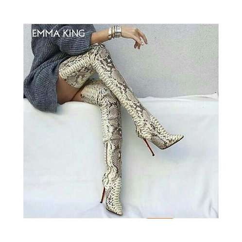 Leather snake skin high thigh boots