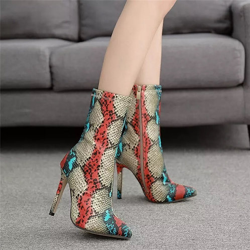 2019 New Women 11.5cm High Heels Boots Fetish Pointed Toe Boots Serpentine Zip A