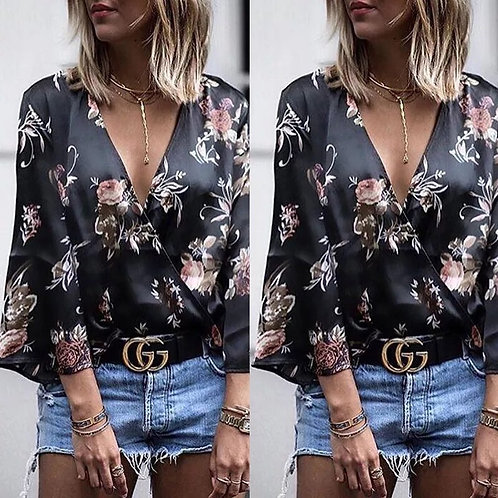 Sexy Women Ladies Long Sleeve Floral V Neck T-Shirt Floral Printed Summer Tops C