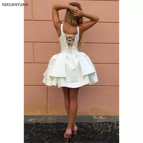 Sexy Criss-cross Straps Little Prom Dresses V Neck Tiered Short Party Dresses 20