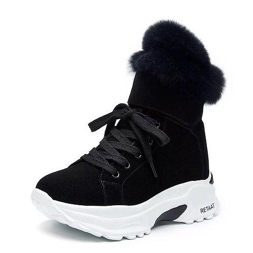 Velvet fur shoes