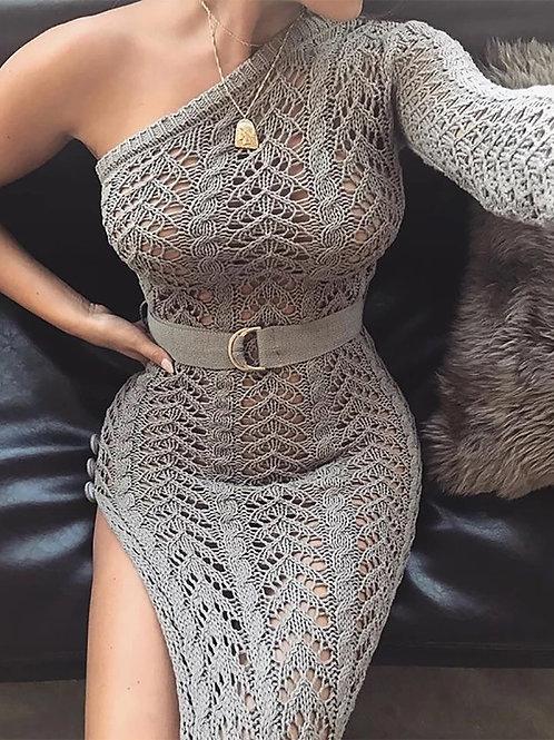 2018 New Knitting Long Dress Women One Shoulder Maxi Dress Sexy Hollow Out High