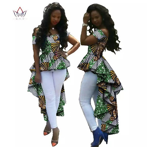 Summer Top African Clothes African Wax Cotton Print Dresses for Women Dashiki Pl
