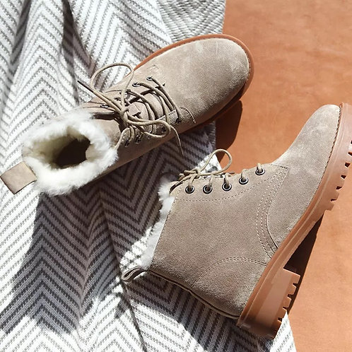 BeauToday Wool Snow Boots Women Genuine Leather Round Toe Lace-Up Platform Winte