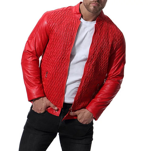 Spring Autumn Classic Men's leather jacket