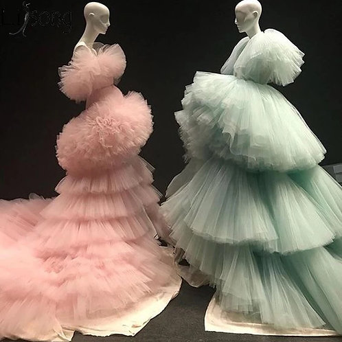 2019 New High low Prom Dresses with Detachable Train Unique Tiered Tulle Skirt