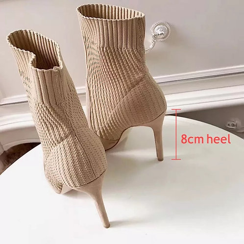 Women Knitted Sock Boots 8cm Stiletto High Heels Ankle Boots for Women Fur Winte