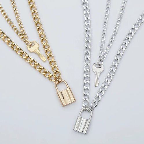 Women's key layered necklace