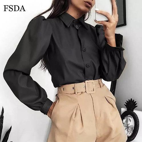 FSDA Long Puff Sleeve Turn Down Collar Women Shirt Button Faux Leather Elegant F