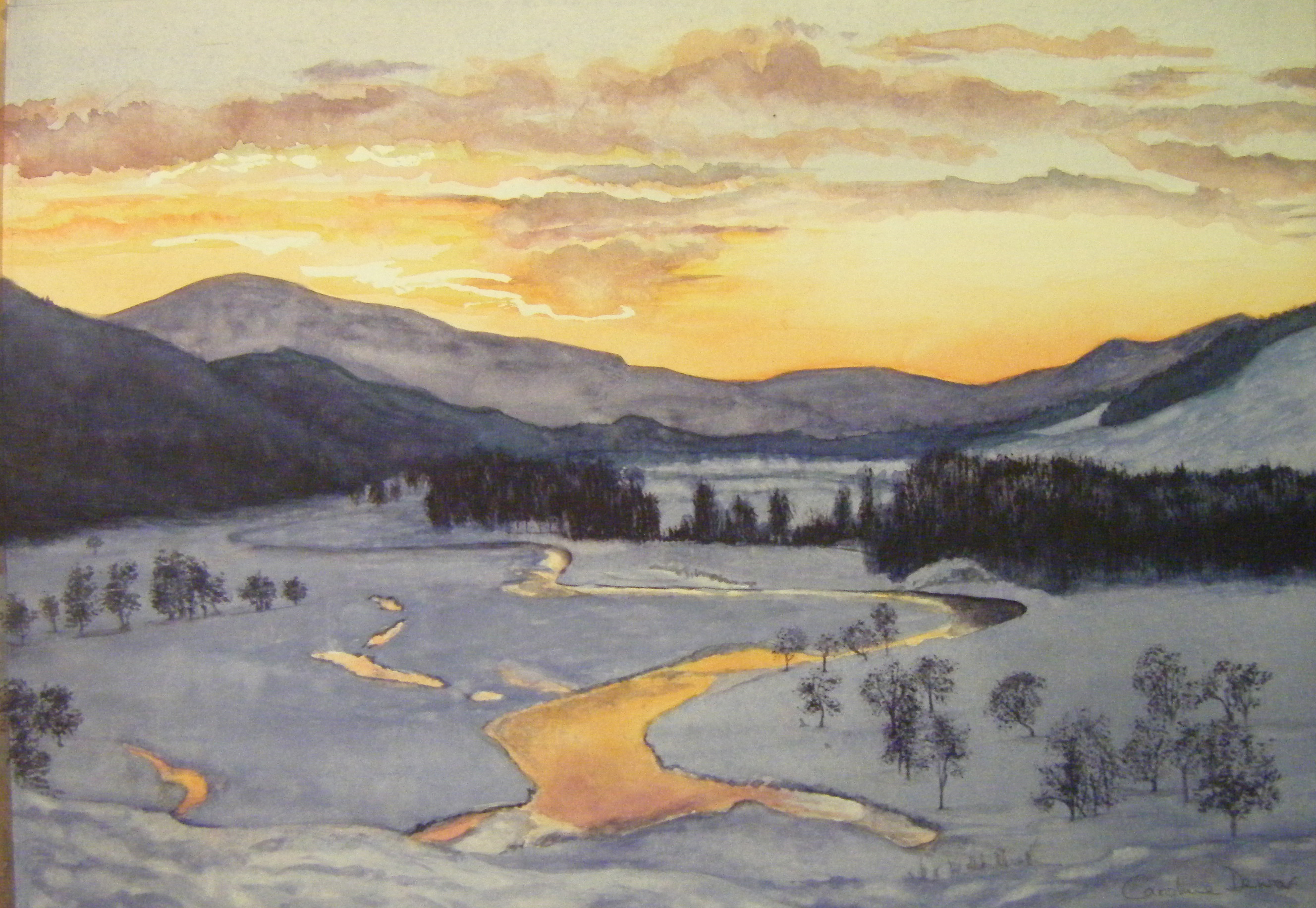 wixSunset in snowy landscape