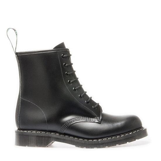 Solovair 8eye Derby Boots Black Hi-shine