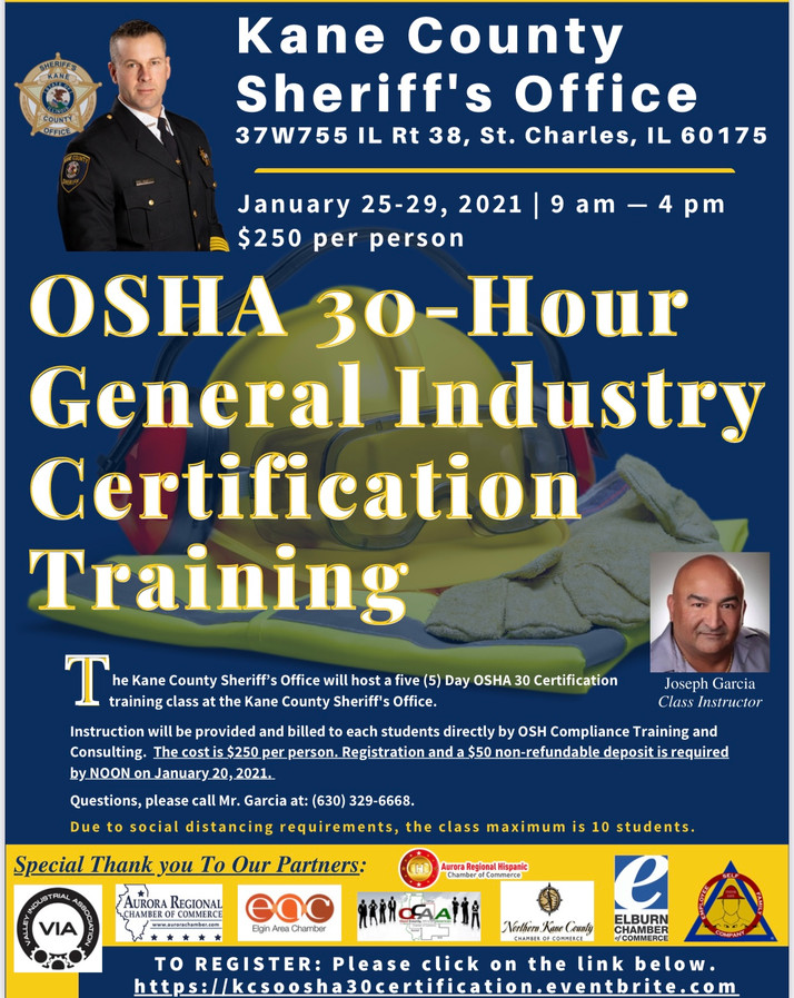 Kane County Offering 30-Hour Industry Certification Training January 25-29th