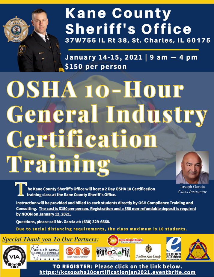 OSHA 10-Hour Certification Training Scheduled For January 14-15, 2021