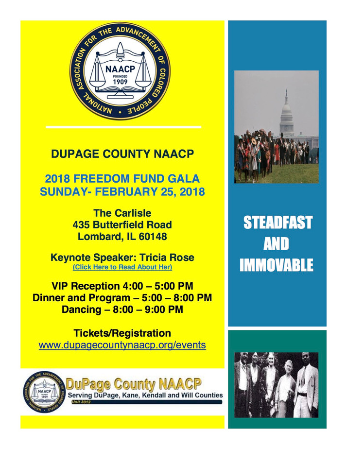 DuPage County NAACP Freedom Fund Gala February 25th in Lombard, IL