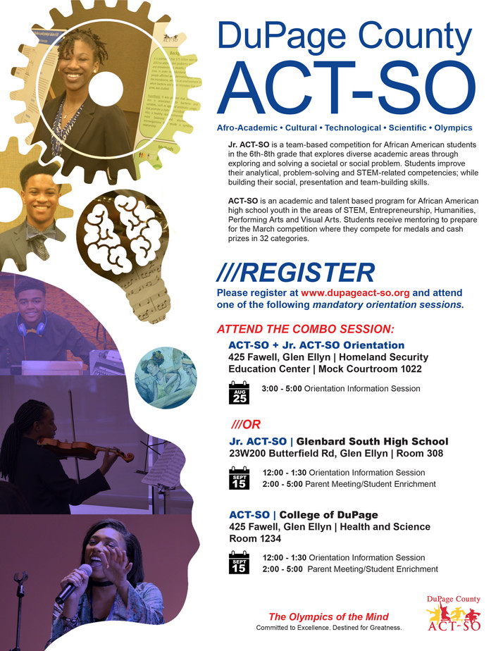 DuPage County ACT-SO Now Open For Talented, Driven, Determined Students...