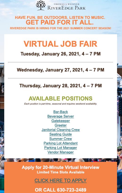 River Edge Park To Hold Virtual Job Fair This Month